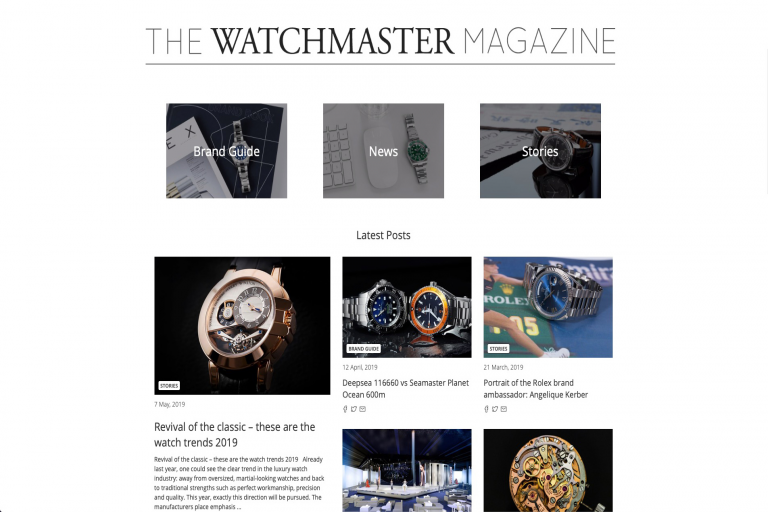 Find news, stories and historical posts about the world of luxury watches in our Watchmaster Magazin in English language