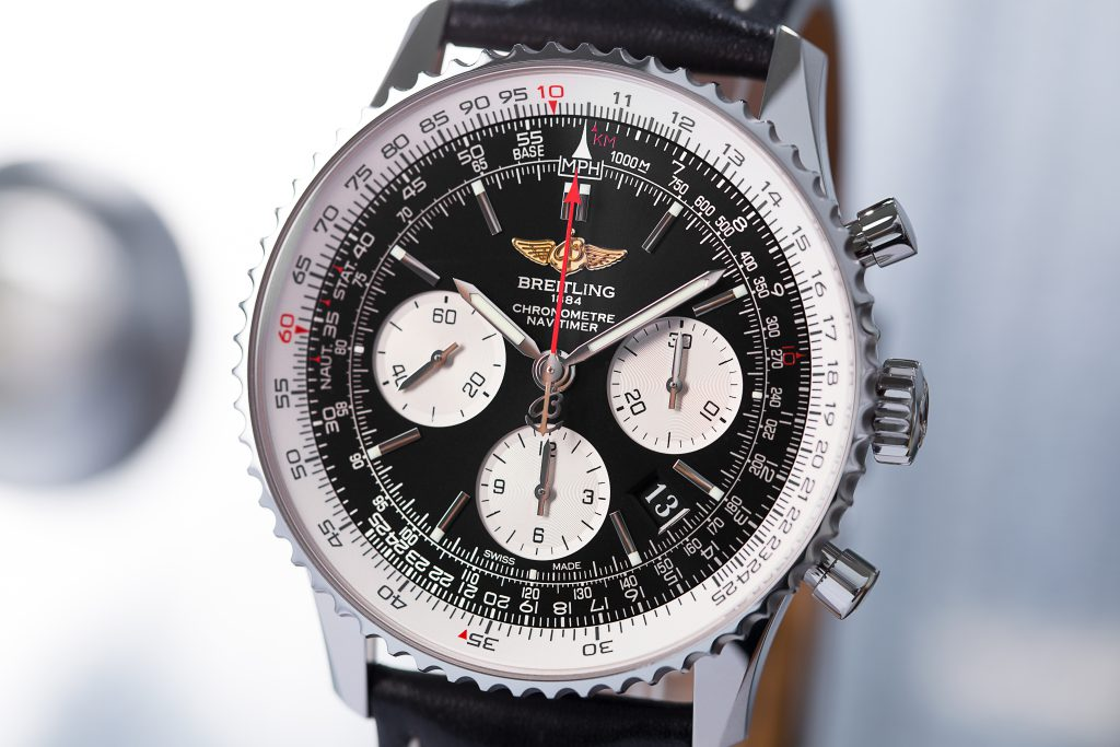Breitling Navitimer 01 AB012012.BB02.447A with black dial and three white totalisers