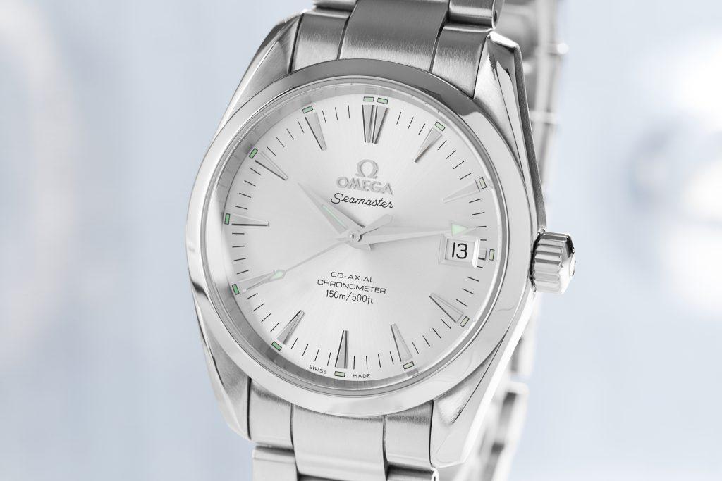 Silberne Omega Seamaster Aqua Terra 150M 2504.30.00 Uhr mit weißem Zifferblatt