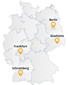 Karta över Tyskland med angivna orter där tyska klockfabrikörer har sina säten