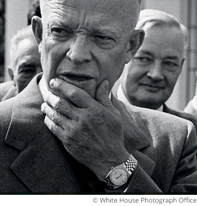 Black and white picture of US President Dwight D Eisenhower with a Rolex Datejust