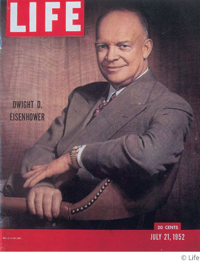 US President Dwight D. Eisenhower on the cover of Life magazine