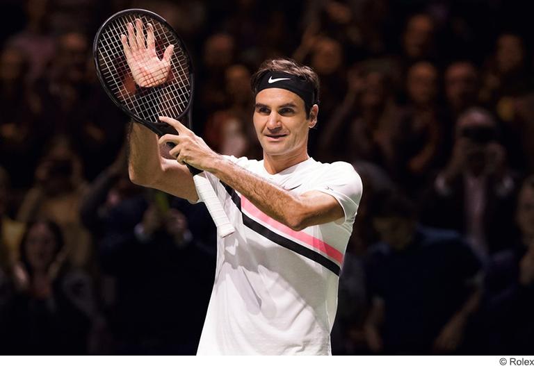 Roger Federer after match Rolex