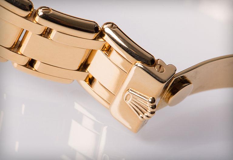 Femdelat Rolex Pearlmaster-armband i gult guld