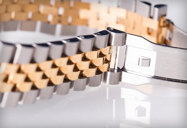 Tvåfärgat Rolex Jubilé-armband i gult guld och ädelstål
