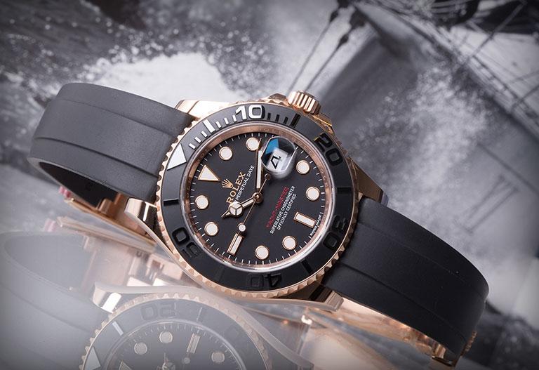 Rolex Yacht-Master 116655 avec cadran noir et bracelet Oysterflex