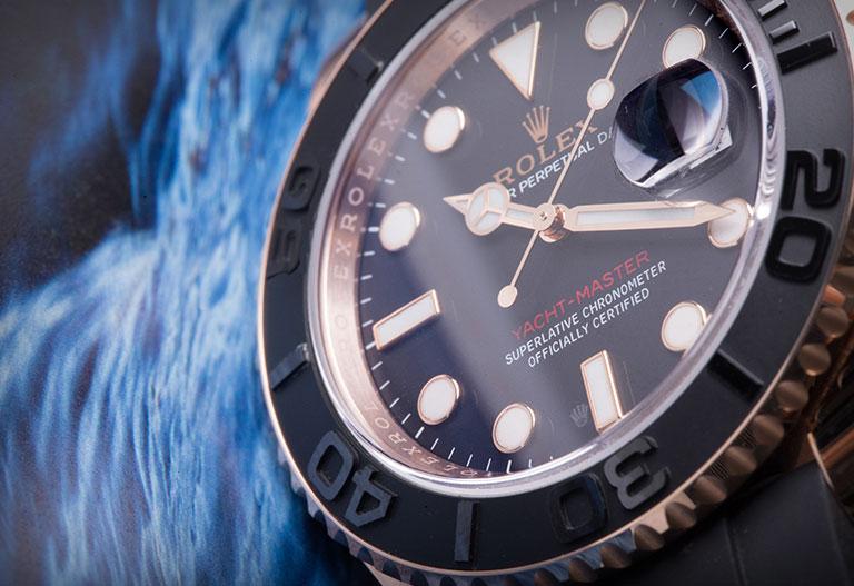 Cadran noir d'une montre Rolex Yacht-Master 116655