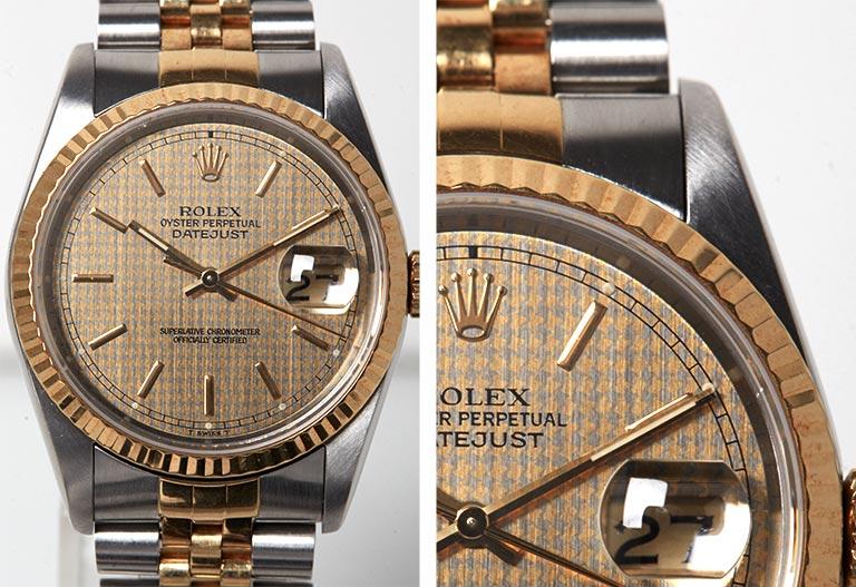 Detalle de la marcación de primer plano Rolex Datejust II