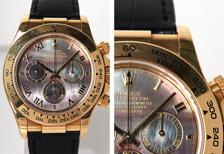 Detalle de la esfera Rolex Daytona 116518 Madreperla