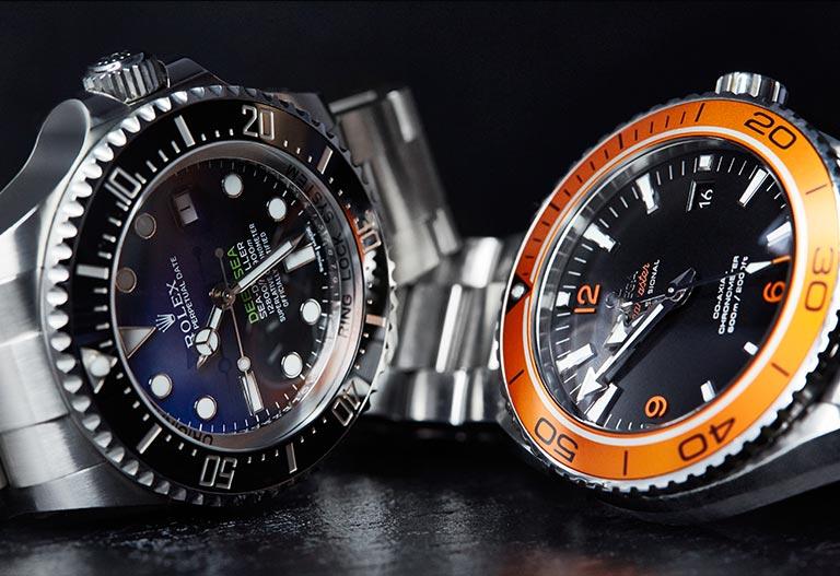 Rolex Deepsea 116660 Cadran dégradé thème eau lunette noire  Omega Seamaster 232.30.46.21.01.002