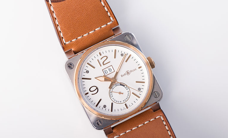 Bell and Ross BR03-90 watch in steel and rose gold with leather strap