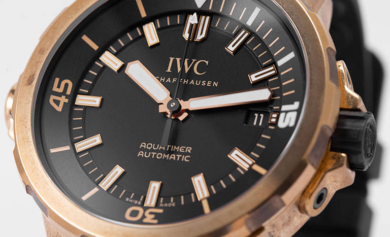 Close-up of an IWC Aquatimer automatic watch IW341001