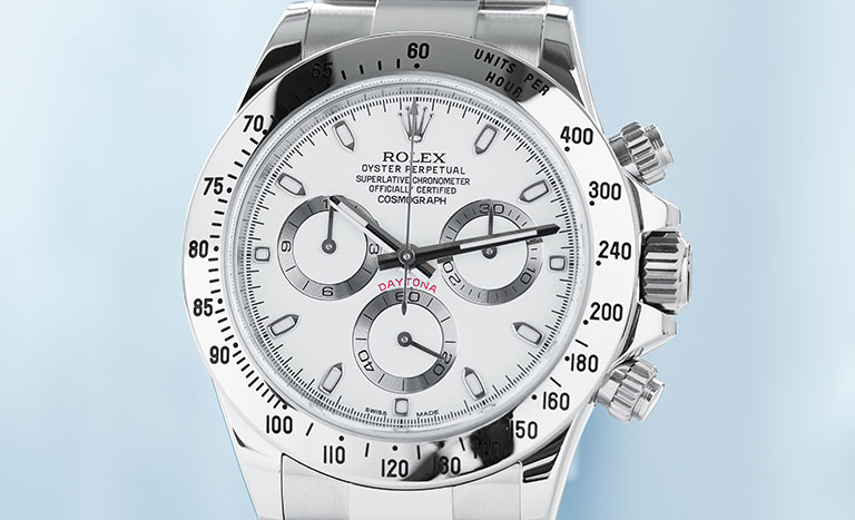 Rolex Daytona 116520 watch with white dial and steel bezel