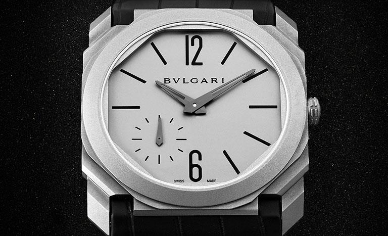 Bvlgari Octo Finissimo BGO40C14TLXAUTO 102711 Uhr mit weißem Zifferblatt und schwarzem Lederarmband