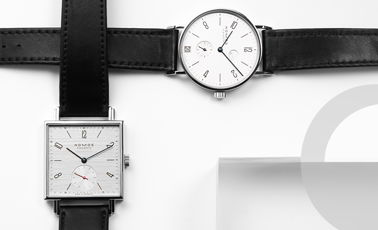 Nomos Glashütte watches Tetra 408 and Tangente 131 in simple Bauhaus style