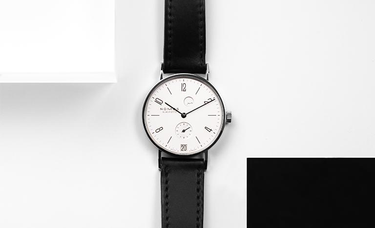 Nomos Glashütte Tangente 131 watch in Bauhaus design with black leather strap
