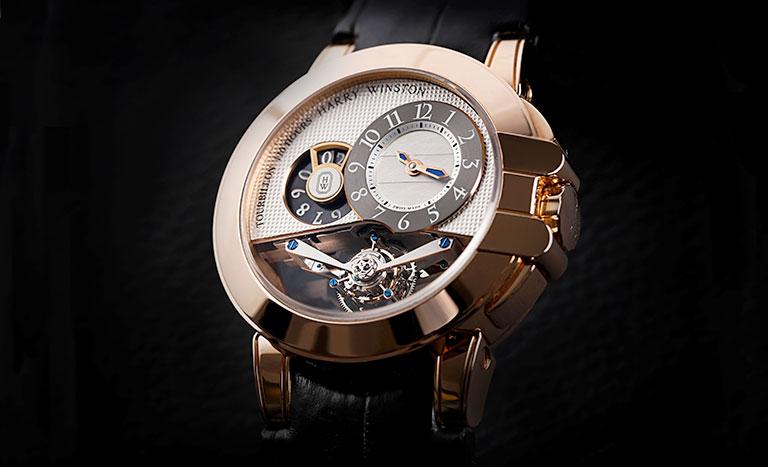 Montre Harry Winston Ocean Tourbillon Bigdate 400/MMTBD45R en or rose avec cadran squeletté et bracelet en cuir noir