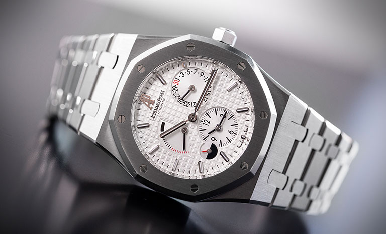 Audemars Piguet Royal Oak watch with white dial