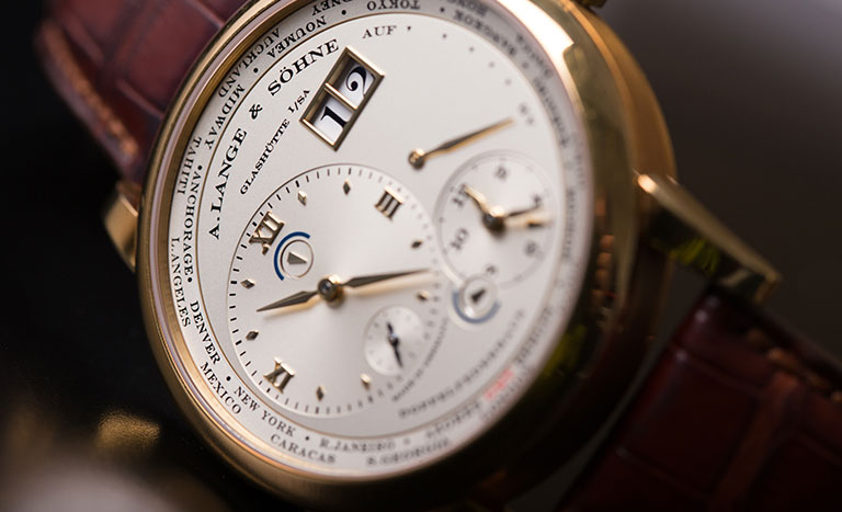 A. Lange & Söhne watch with a brown leather bracelet