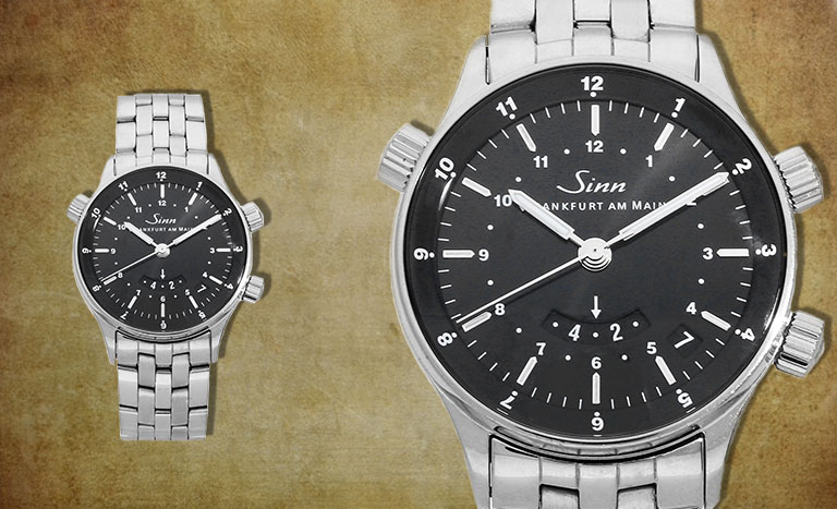 Zwei Sinn Uhren mit Vintage Hintergrund