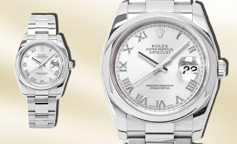 two identical Datejust on a champagne background