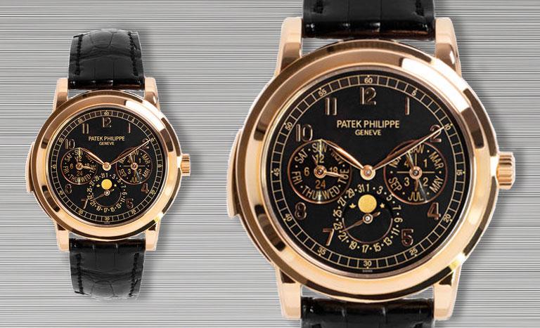 Roségoldene Patek Philippe Minute Repeater Perpetual Calendar 5074R-001 Uhr mit schwarzem Lederarmband