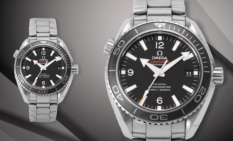 Omega Seamaster Planet Ocean 600M Uhr mit schwarzem Zifferblatt