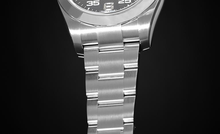 Rolex Air-King 116900 Armband mit schwarzem Hintergrund