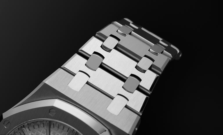 Audemars Piguet Royal Oak Armband mit schwarzem Hintergrund