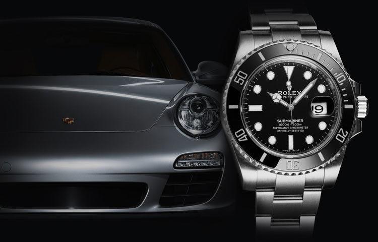 Rolex Submariner 116610LN steel watch with silver Porsche 911 in the background