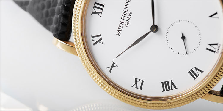 Patek Philippe Calatrava watch with a white dial