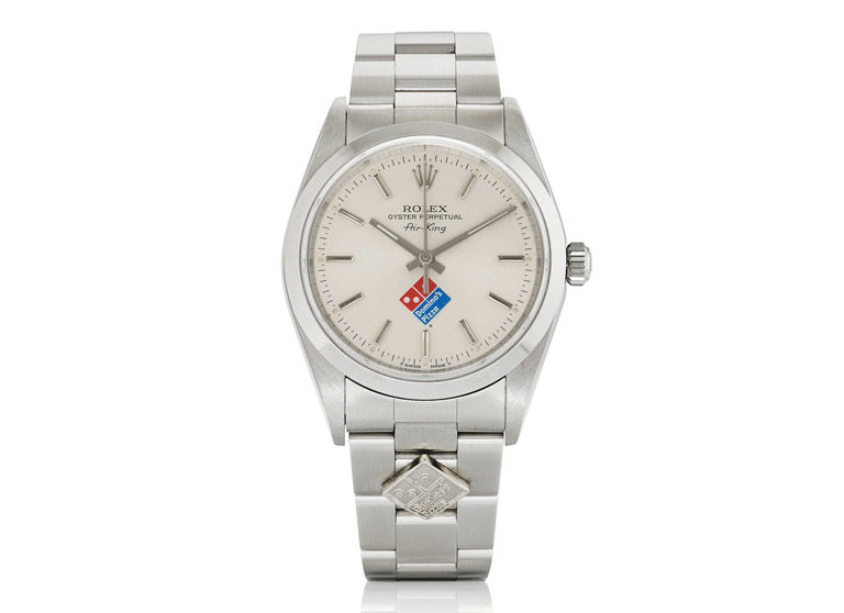 Rolex Air-King stainless steel watch with Domino's Pizza logo on silver dial