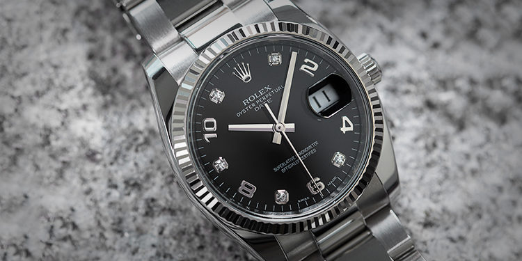 Rolex Lady-Datejust Black dial with diamonds