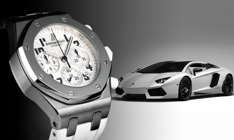 Audemars Piguet Royal Oak Offshore 26283ST.OO.D010CA.01 watch with silver Lamborghini in the background
