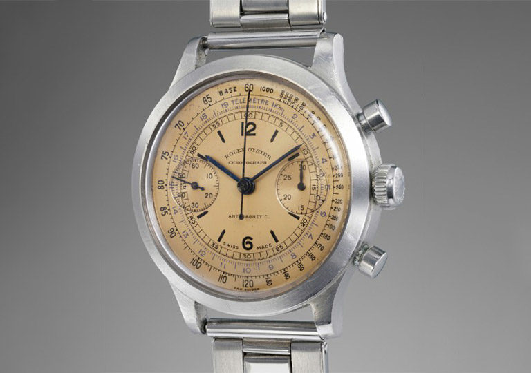 Rolex Oyster 3525 Chronograph in stainless steel with yellowish dial in used condition