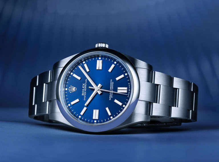 RRolex Oyster Perpetual 124300 stainless steel watch with blue dial