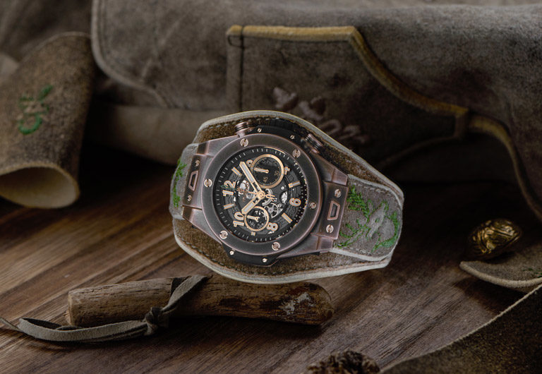 Limited Oktoberfest edition of the Hublot Big Bang Bavaria watch in Bavarian design with bronze case
