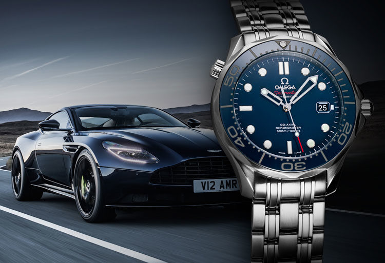 Omega Seamaster Diver 300 M 212.30.41.20.03.001 watch with blue dial and blue Aston Martin DB11 in the background