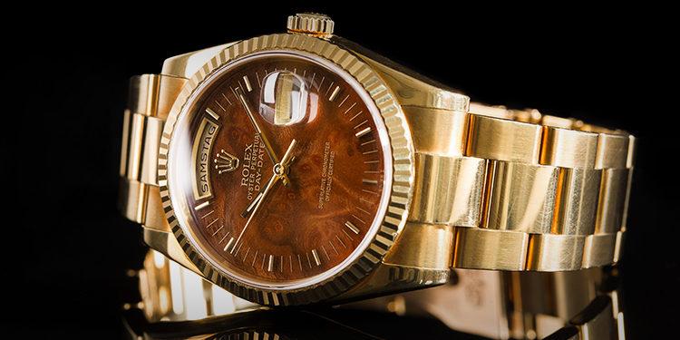 Rolex Day-Date Gold mit braunem Zifferblatt
