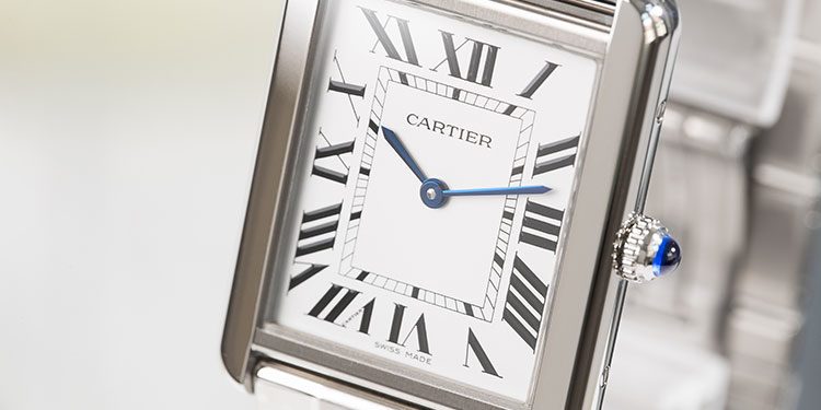 Cartier Tank Solo W5200014 watch in closeup