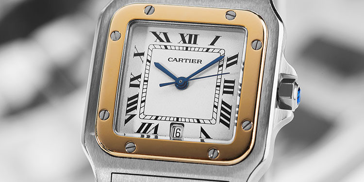 Close-up of a Cartier Santos Galbee 1566 Watch
