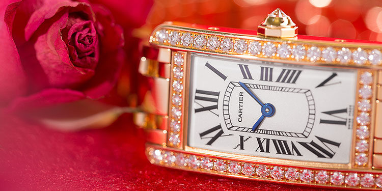 Cartier Tank Americaine with diamond bezel in closeup
