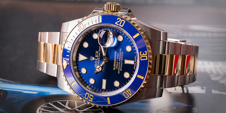 Pre-owned Rolex Submariner 116613LB Bluesy
