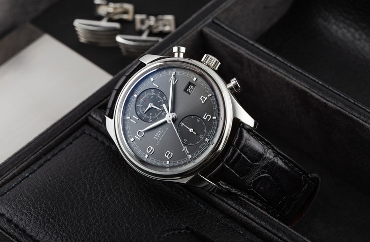 IWC Portuguese Chronograph IW390404 in stainless steel with black dial and leather strap