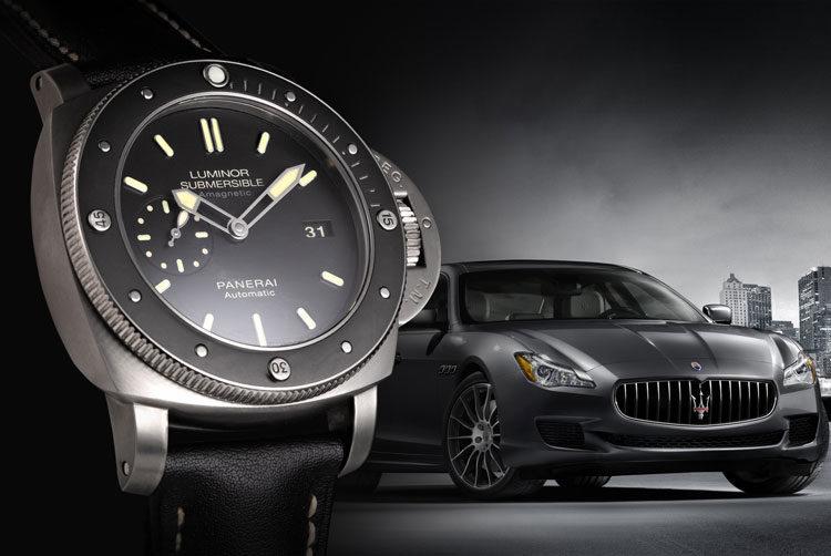 Panerai Luminor Submersible 1950 PAM00389 watch with dark grey Maserati in the background