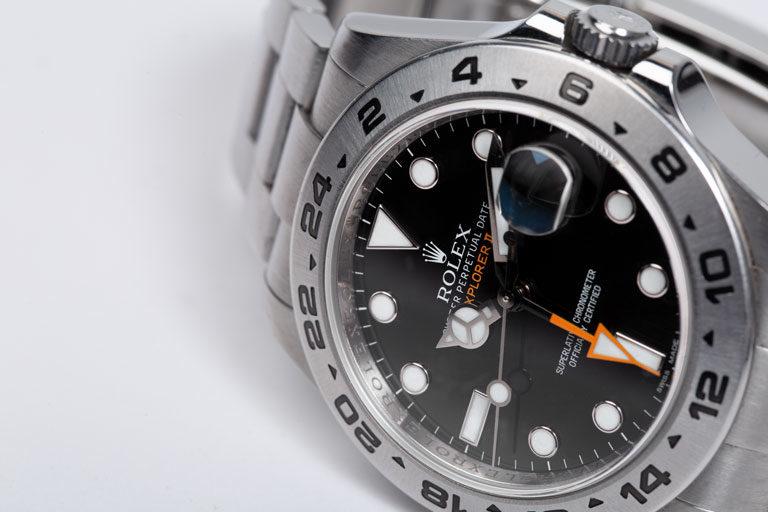 Reloj Rolex Explorer II 216570 de acero inoxidable con esfera negra