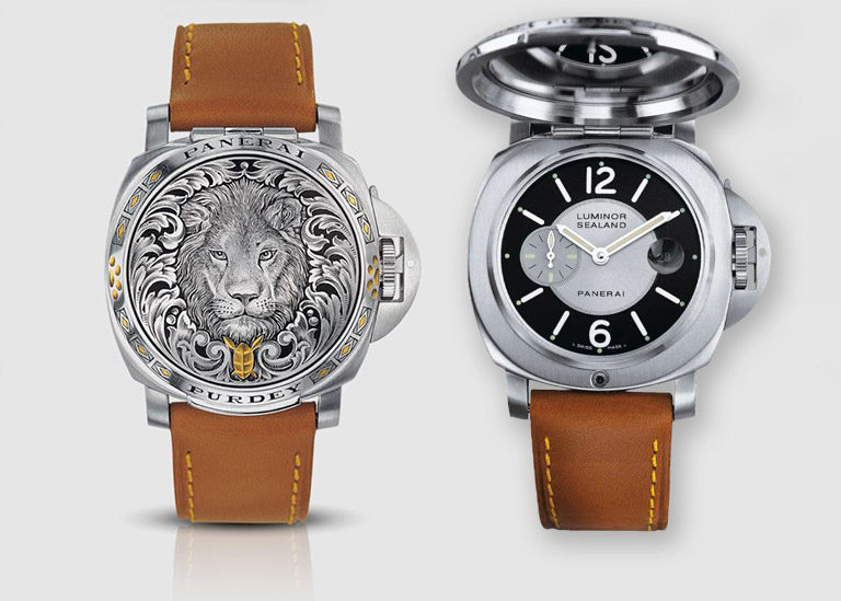 Front and back of the rare limited special edition Panerai Luminor Sealand For Purdey PAM00152 with engraved protective cover