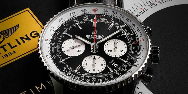 Montre de pilote Breitling Navitimer 1 B01 Chronograph 43 AB0121211B1P1 avec lunette à règle à calcul