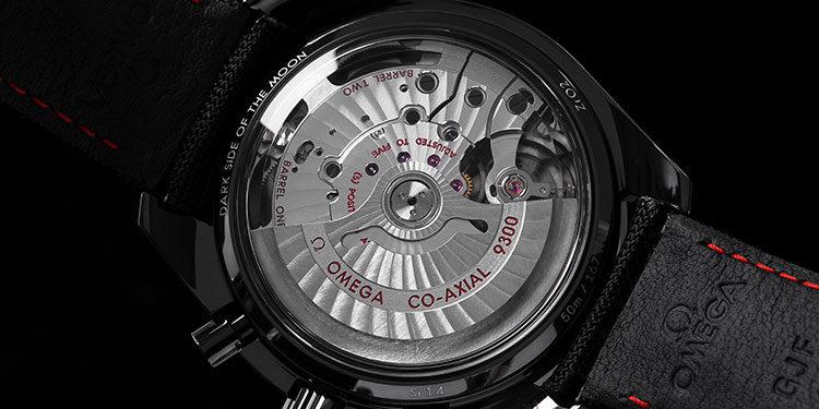 Gehäuserückseite einer Omega Speedmaster Moonwatch Chronograph Edelstahl-Uhr