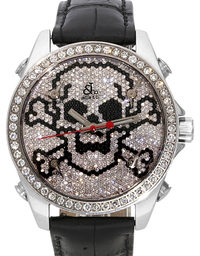 Jacob & Co Five Time Zone Diamonds Pave Skull